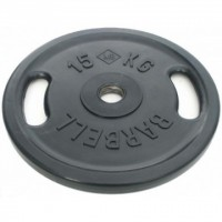 Диск Евро-Классик обрезиненный черный 15 кг. с хватами