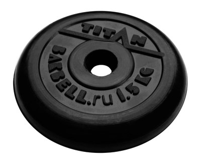 Диск обрезиненный черный 1,5 кг.